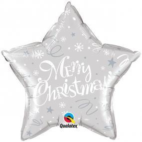Silver Merry Christmas Star Foil Balloon - 20 Inch
