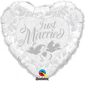 Just Married Silver Heart Foil Balloon