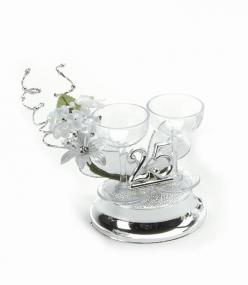 25th Silver Wedding Anniversary Cake Topper - Champagne Glasses