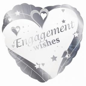 Engagement  Foil Balloon - Hearts and Stars