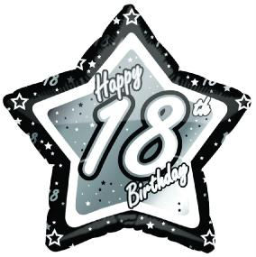 18th Birthday Foil Balloon - Black and Silver Star