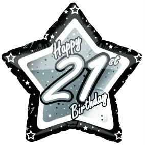 21st Birthday Foil Balloon - Black and Silver Star