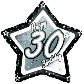 30th Birthday Foil Balloon - Black and Silver Star