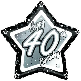 40th Birthday Foil Balloon - Black and Silver Star