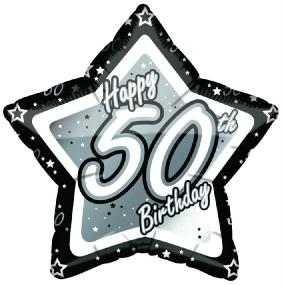 50th Birthday Foil Balloon - Black and Silver Star