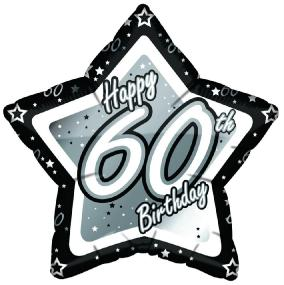 60th Birthday Foil Balloon - Black and Silver Star