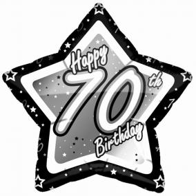 70th Birthday Foil Balloon - Black and Silver Star