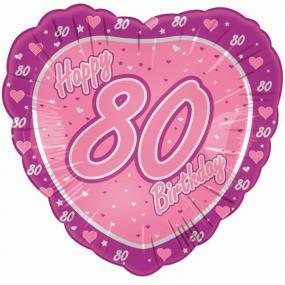 80th Birthday  Pink Heart Foil Balloon