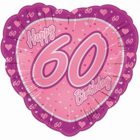 60th Birthday Pink Heart Foil Balloon