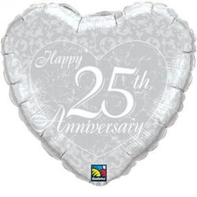 25th Silver Wedding Anniversary Foil Balloon Heart