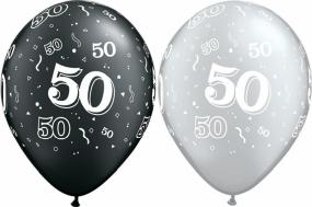 50th Birthday Black and Silver Latex Balloons x 25