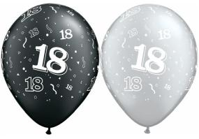 18th Birthday Latex Balloons Black and Silver x 25