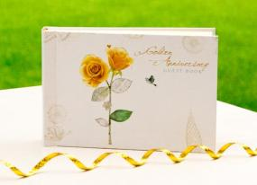 50th Golden Wedding Anniversary Guest Book - Roses