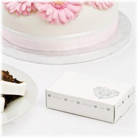 White & Silver Vintage Romance Cake Boxes x 10