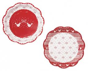 Red and White Christmas Paper Plates x 8 - Knitted Noel by Talking Tables