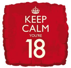 18th Birthday Foil Balloon - Keep Calm You're 18