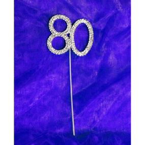Diamante 80 On Silver Stem - 80th Birthday Cake Decoration