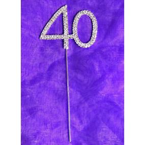 Diamante 40 On Silver Stem - 40th Birthday Cake Decoration