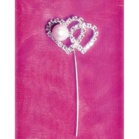 Diamante Double Heart and Pearl on Stem
