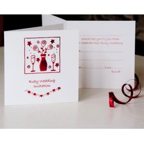 Ruby 40th Wedding Anniversary Invitations Folded Card x 5