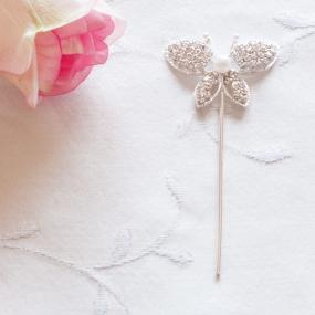Diamante Butterfly and Pearl on Stem Cake Decoration
