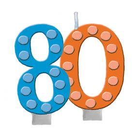 80th Birthday Cake Candle Bright & Bold