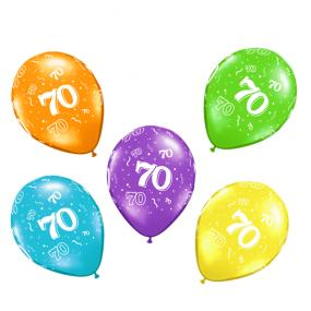 70th Birthday Latex Balloons x 6