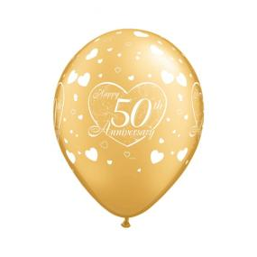 50th Golden Wedding Anniversary Latex Balloons x 6