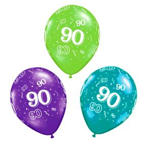 90th Birthday Latex Balloons x 6
