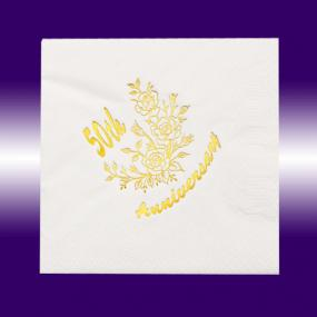 50th Golden Wedding Anniversary Dinner Napkins