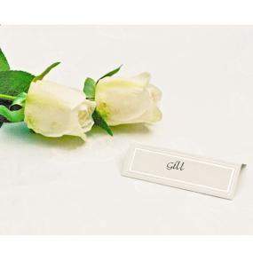 White with Silver Border Place Cards