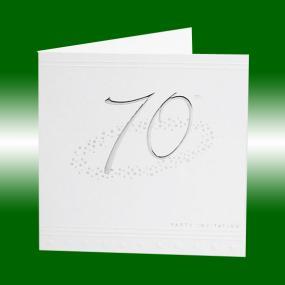 70th Birthday Invitations - Silver Stars