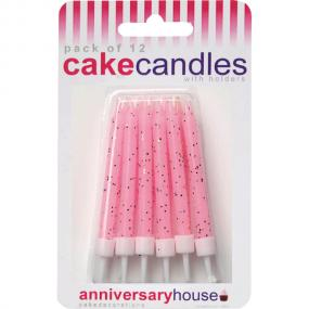 Pale Pink Glitter Birthday Cake Candles and Holders