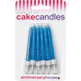 Blue Glitter Birthday Cake Candles and Holders