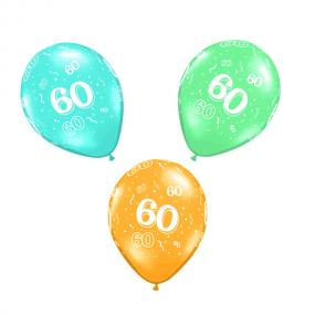 60th Birthday Latex Balloons x 6