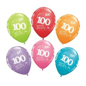 100th Birthday Latex Balloons x 6