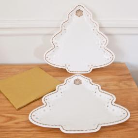 Party Porcelain Gold Christmas Tree Platters