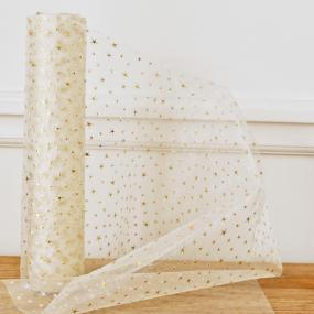 Ivory With Gold Stars Organza On Roll