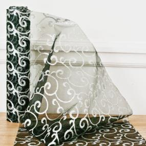 Black and Silver Organza Swirl on Roll
