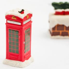 Snowy Telephone Box Christmas Cake Decoration