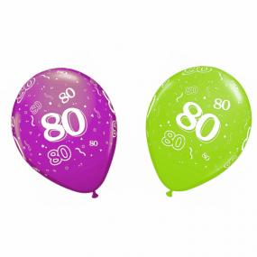 80th Birthday Latex Balloons x 6