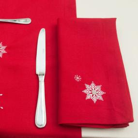 Snowflake Red Christmas Napkins x 4