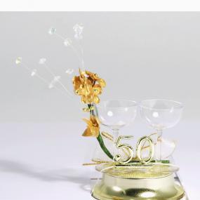 50th Golden Wedding Anniversary Cake Topper Champagne Glasses