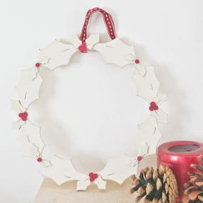 Wooden Holly Wreath By East Of India