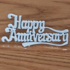 Silver Happy Anniversary Cake Decoration