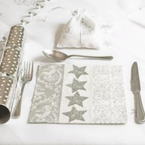 Silver Stars and ornament Christmas Paper Dinner Napkins
