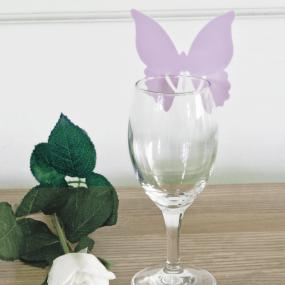 Lilac Butterfly Place Cards For Glasses
