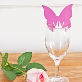 Hot Pink Butterfly Place Cards For Glasses