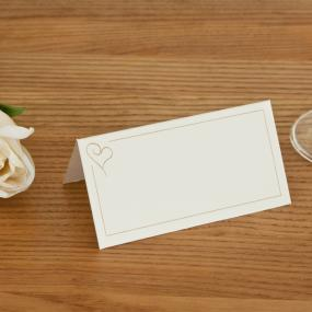 Ivory and Gold Heart Place Cards x 50