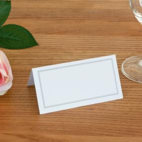 White With Silver Border Place Cards x 50
